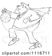 Clipart Of An Outlined Sporty Halloween Vampire Playing Basketball Royalty Free Vector Illustration