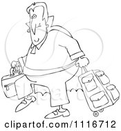 Clipart Of An Outlined Traveling Halloween Vampire With Luggage Royalty Free Vector Illustration