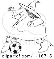 Clipart Of An Outlined Sporty Halloween Witch Playing Soccer Royalty Free Vector Illustration by djart