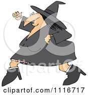 Clipart Of A Halloween Witch Running Royalty Free Vector Illustration