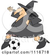 Sporty Halloween Witch Playing Soccer