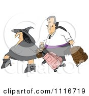 Clipart Of A Traveling Halloween Witch And Vampire With Luggage - Royalty Free Vector Illustration by djart