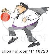 Clipart Of A Sporty Halloween Vampire Playing Basketball Royalty Free Vector Illustration