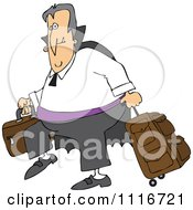 Clipart Of A Traveling Halloween Vampire With Luggage Royalty Free Vector Illustration