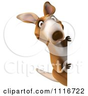Clipart Of A 3d Aussie Kangaroo Holding A Sign Royalty Free CGI Illustration by Julos