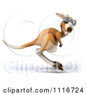 Clipart Of A 3d Aussie Kangaroo Wearing Sunglasses And Hopping By Royalty Free CGI Illustration
