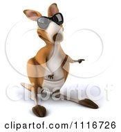 Clipart Of A 3d Aussie Kangaroo Wearing Sunglasses And Pointing Right Royalty Free CGI Illustration by Julos