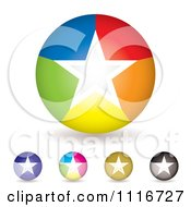 Round Colorful Star Icons And Shadows