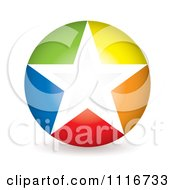 Round Colorful Star Icon And Shadow