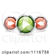 Vector Clipart Of 3d Shiny Round Music Control Icons With Shadows Royalty Free Graphic Illustration