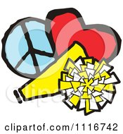 Vector Clipart Of A Cheerleading Megaphone Pom Pom Heart And Peace Symbol Royalty Free Graphic Illustration by Johnny Sajem #COLLC1116742-0090