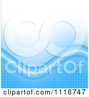 Vector Clipart Of A Blue Background With Waves On Square Pixels Royalty Free Graphic Illustration
