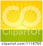 Vector Clipart Of A Morning Sun Shining Over Flat Farmland Royalty Free Graphic Illustration by dero