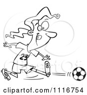 Cartoon Of An Outlined Girl Kicking A Soccer Ball Royalty Free Vector Clipart
