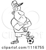 Cartoon Of An Outlined Coach Man Resting A Foot On A Soccer Ball Royalty Free Vector Clipart