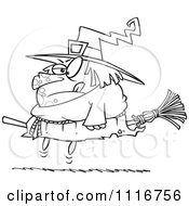 Cartoon Of An Outlined Halloween Fat Witch On A Broomstick Royalty Free Vector Clipart