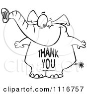 Cartoon Of An Outlined Elephant With A Thank You Belly Royalty Free Vector Clipart