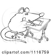 Cartoon Of An Outlined Artist Possum Drawing Royalty Free Vector Clipart