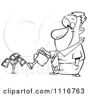 Cartoon Of An Outlined Man Watering His Money Plant Royalty Free Vector Clipart