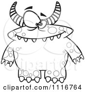 Cartoon Of An Outlined Spotted And Horned Monster Royalty Free Vector Clipart