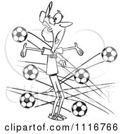 Cartoon Of An Outlined Female Soccer Coach With Balls Flying At Her Royalty Free Vector Clipart