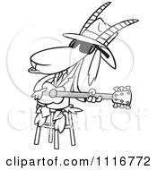Cartoon Of An Outlined Blues Goat Musician Playing A Guitar Royalty Free Vector Clipart