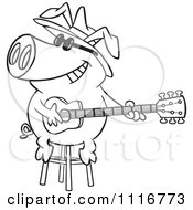 Cartoon Of An Outlined Blues Pig Musician Playing A Guitar Royalty Free Vector Clipart