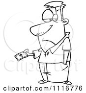 Cartoon Of An Outlined Man Grudgingly Making A Payment Royalty Free Vector Clipart