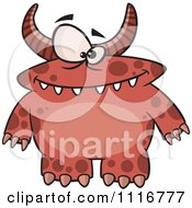 Cartoon Of A Spotted And Horned Red Monster Royalty Free Vector Clipart