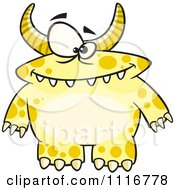 Cartoon Of A Spotted And Horned Yellow Monster Royalty Free Vector Clipart