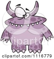 Cartoon Of A Spotted And Horned Purple Monster Royalty Free Vector Clipart