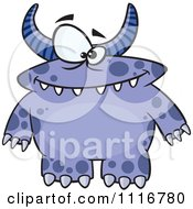 Cartoon Of A Spotted And Horned Blue Monster Royalty Free Vector Clipart