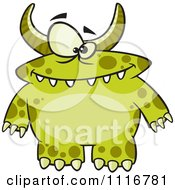 Cartoon Of A Spotted And Horned Green Monster Royalty Free Vector Clipart by toonaday