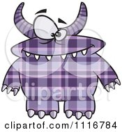 Spotted And Horned Purple Plaid Monster