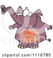 Cartoon Of A Purple Elephant With A Thank You Belly Royalty Free Vector Clipart by toonaday