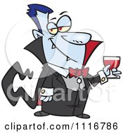 Cartoon Of A Suave Halloween Dracula Vampire Drinking Blood Royalty Free Vector Clipart