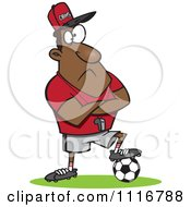 Cartoon Of A Black Coach Man Resting A Foot On A Soccer Ball Royalty Free Vector Clipart by toonaday