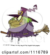 Cartoon Of A Halloween Fat Witch On A Broomstick Royalty Free Vector Clipart