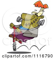 Cartoon Of A Halloween Frankenstein On A Pogo Stick Royalty Free Vector Clipart