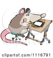 Cartoon Of A Artist Possum Drawing Royalty Free Vector Clipart by toonaday