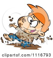 Cartoon Of A Boy Having Fun Playing In Mud Royalty Free Vector Clipart by toonaday