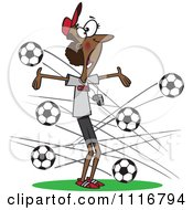 Cartoon Of A Black Female Soccer Coach With Balls Flying At Her Royalty Free Vector Clipart by toonaday