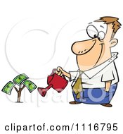 Cartoon Of A Man Watering His Money Plant Royalty Free Vector Clipart