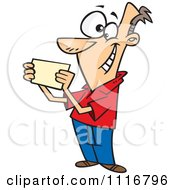 Cartoon Of A Recipient Man Reading An Invitation Royalty Free Vector Clipart
