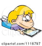 Cartoon Of A Blond Girl Using An IPad Tablet Computer Royalty Free Vector Clipart