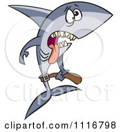 Cartoon Of A Skinny Starving Shark Royalty Free Vector Clipart