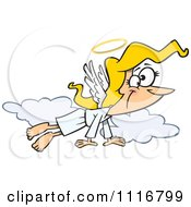 Cartoon Of A Angel Woman Flying In The Clouds Royalty Free Vector Clipart by toonaday