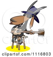 Cartoon Of A Blues Goat Musician Playing A Guitar Royalty Free Vector Clipart