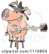 Cartoon Of A Blues Pig Musician Playing A Guitar Royalty Free Vector Clipart