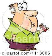 Fat Man Eating A Chocolate Candy Bar